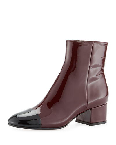 Patent Cap-Toe Block-Heel Boot