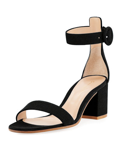 Suede Block-Heel City Sandal