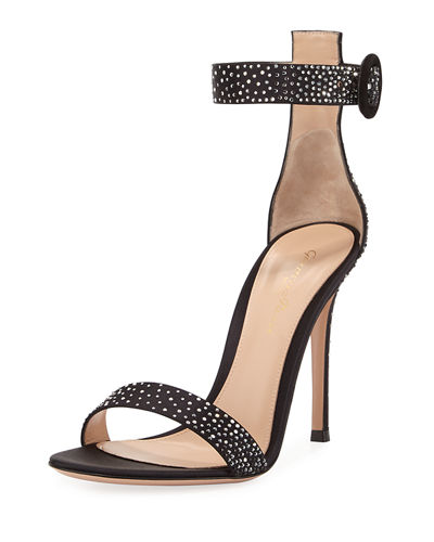 Gianvito Rossi Elysium Crystal-Embellished Silk 105mm Sandal