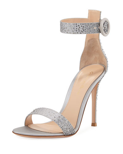 Crystal-Embellished Silk 105mm Sandal