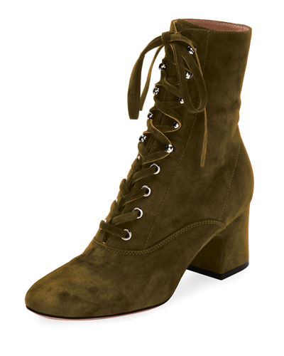 Suede Lace-Up Block-Heel Boot
