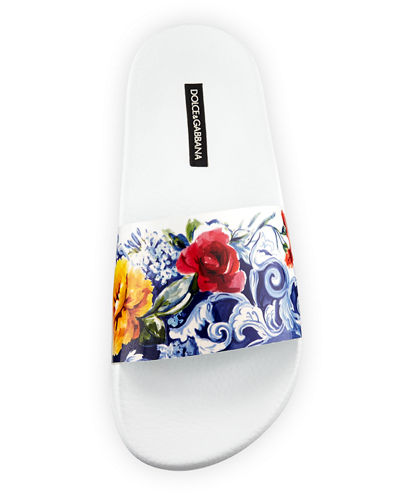 Floral-Print Leather Slide Sandal