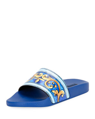 WOMAN PRINTED PATENT-LEATHER SLIDES ROYAL BLUE