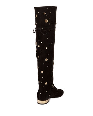 ROGER VIVIER New Polly Astre Studs Over-The Knee Boots In Suede in Black