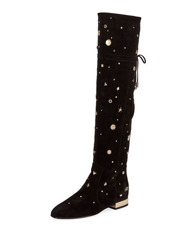 Roger Vivier Astre Studded Over-The-Knee Boot, Black