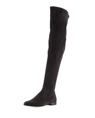 Flat Stretch-Suede Over-the-Knee Boot