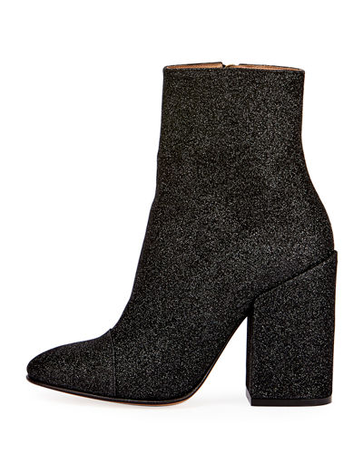 Glittered Fabric Block-Heel Bootie