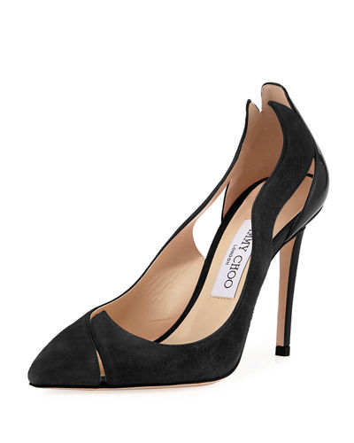 Jimmy Choo Saga Suede Flame Cutout Pump