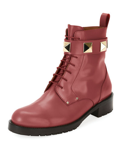 Rockstud Leather Combat Boot