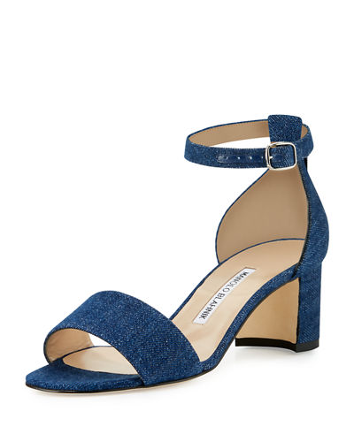 Lauratomod Denim Ankle-Wrap Sandal