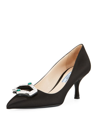Satin Jewel Ornament Pump