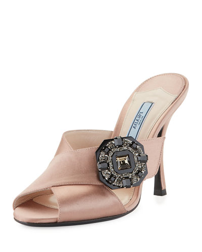 Jeweled Satin 100mm Slide Sandal