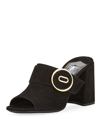 Leather Button Block-Heel Mule Sandal