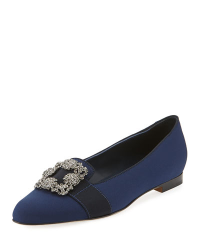 Marria Jewel-Buckle Crepe Slipper