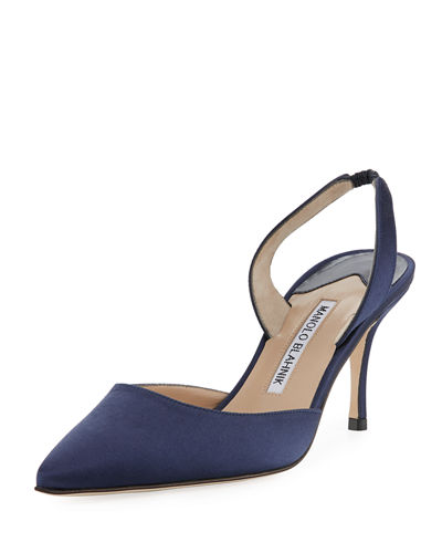 Carolyne 75mm Satin Slingback Pump