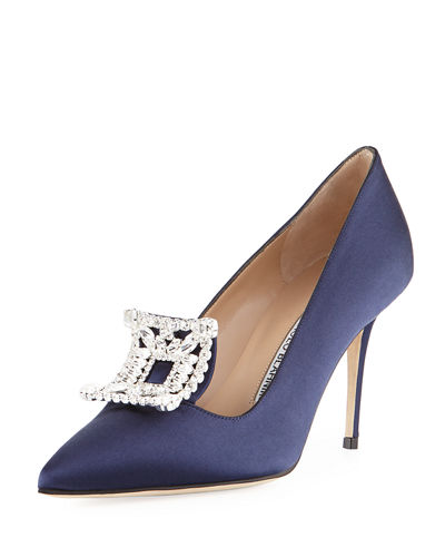 Borlak Crystal-Embellished Satin Pump