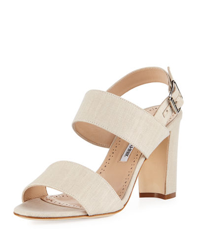 Khans Two-Band Linen Sandal, Beige