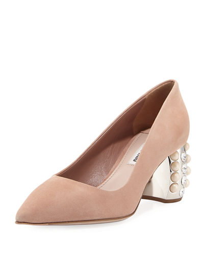 Jewel Pearlescent Heel Pump
