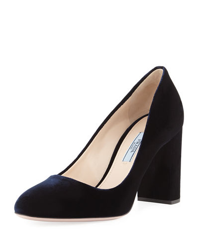 Velvet 85mm Block-Heel Pump, Green