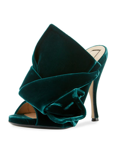 Pleated Velvet Mule Sandal