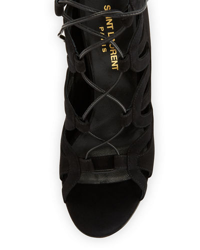 Tribute Suede Platform Lace-Up Cage Sandal