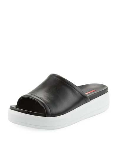 Prada Linea Rossa Leather 35mm Platform Sport Slide
