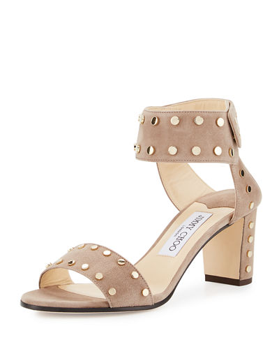 Jimmy Choo Veto Studded Suede City Sandal