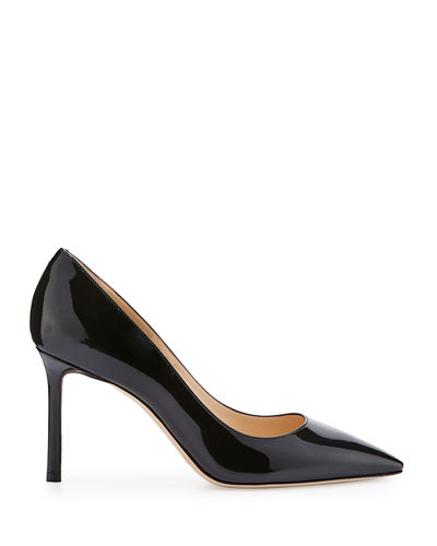 Romy Patent Pointed-Toe 85mm Pump