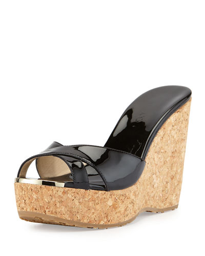 Jimmy Choo Perfume Patent Leather Crisscross Wedge