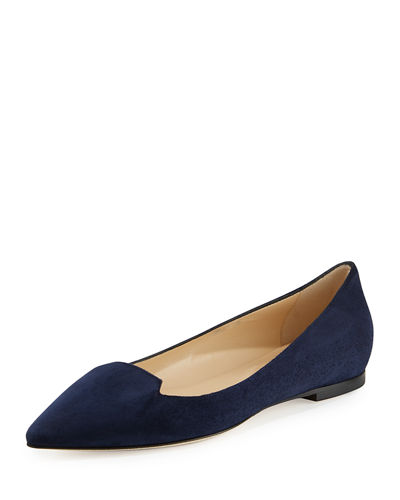 Jimmy Choo Attila Suede Pointed-Toe Flat