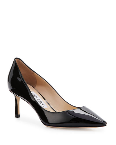 Romy Patent Pointed-Toe 60mm Pump, Black