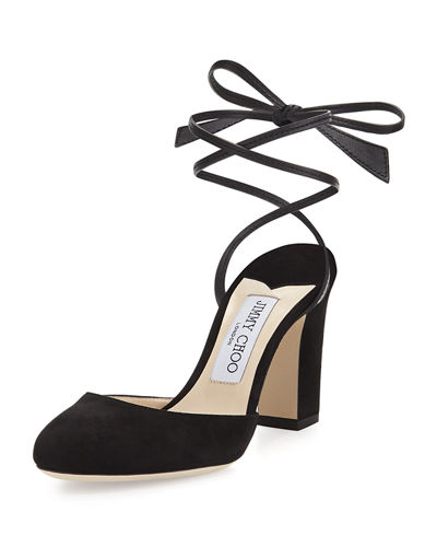 Lucia Suede 85mm Ankle-Wrap Sandal