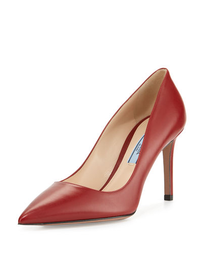 Leather Pointed-Toe 85mm Pump