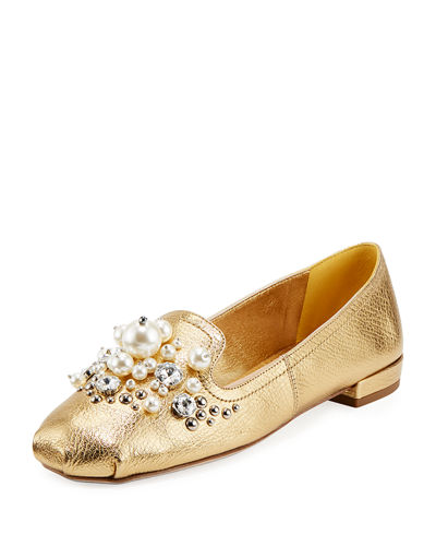 Pearly Jeweled Metallic Leather Flat