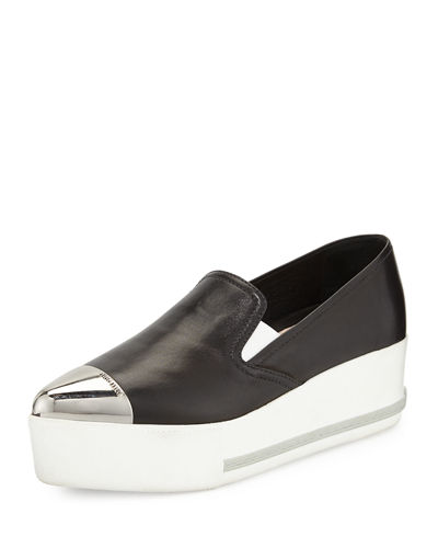 Leather Cap-Toe Platform Sneaker