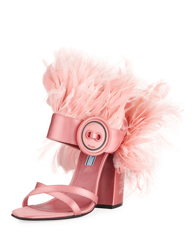 Feather-Embellished Satin Sandal
