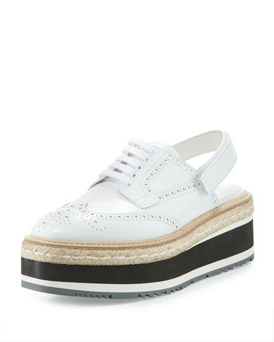 Patent Brogue Slingback Oxford
