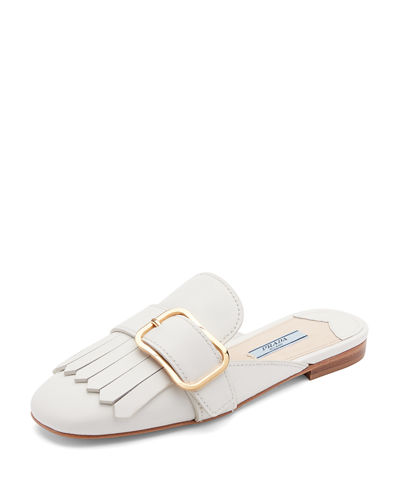 Leather Buckle Kiltie Mule Flat