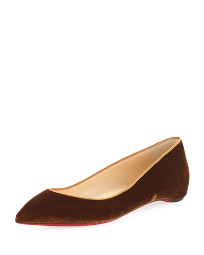 Pigalle Follies Quilted Velvet Red Sole Flat