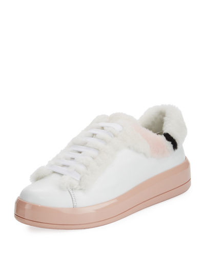 Shearling-Lined Leather Sneaker