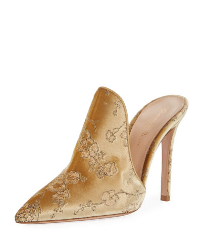 Embroidered Velvet Mule Pump