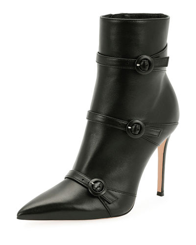 Robin Leather Three-Buckle 105mm Bootie