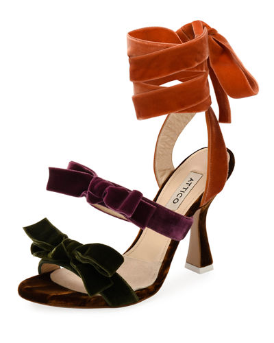 Diletta Colorblock Velvet Bow Sandal