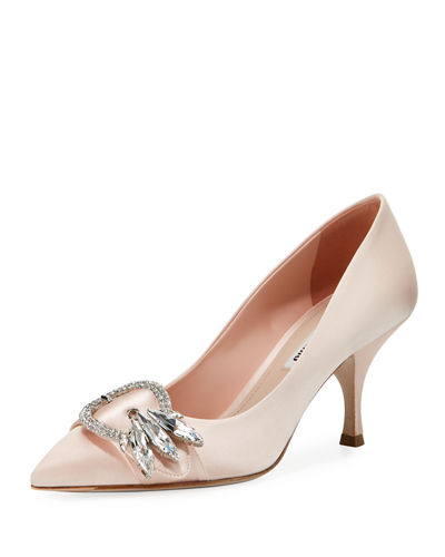 Satin Point-Toe Crystal Buckle Pump