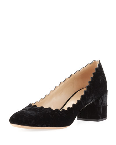 Crushed Velvet Block-Heel Pump