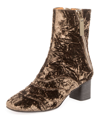 Crushed Velvet Block-Heel Bootie