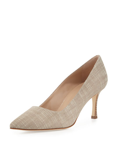 BB Snake-Print Fabric Point-Toe Pump