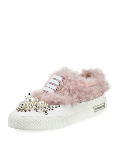 Beaded Faux-Fur Low-Top Sneaker