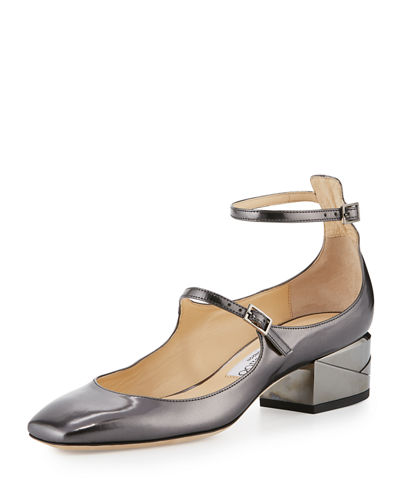 Wilbur Metallic Strappy Block-Heel Pump