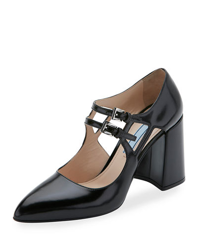Patent Two-Buckle Mary Jane Pump